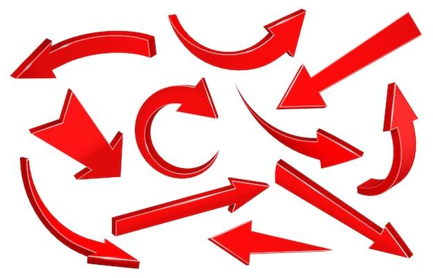Setas 3d realistas. seta curva para cima apontando, forma de ponteiro para baixo e seta para frente