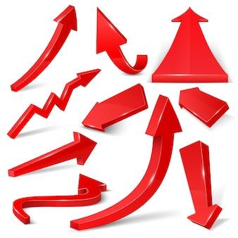 Setas 3d vermelhas brilhantes isoladas no conjunto de vetor branco. ilustração de direção de curva web seta