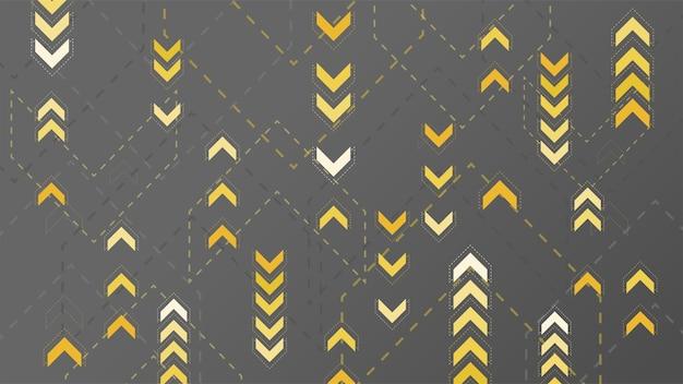 Setas amarelas abstratas sinalizando em fundo escuro