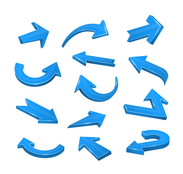 Setas azuis 3d de várias formas definidas. setas realistas torcidas em várias direções