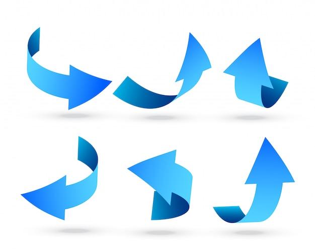 Setas azuis 3d, definidas em ângulos diferentes