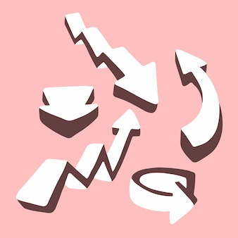 Setas brancas 3d definir ícone de coleção símbolo na ilustração vetorial plana de fundo rosa