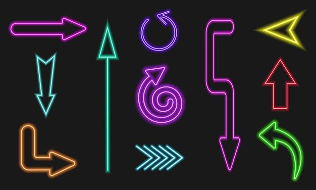 Setas brilhantes de néon sinais de relâmpago em fundo escuro
