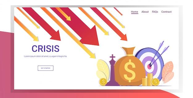 Setas caindo diminuição economia alongamento crescente queda crise financeira falha orçamento colapso conceito landing page