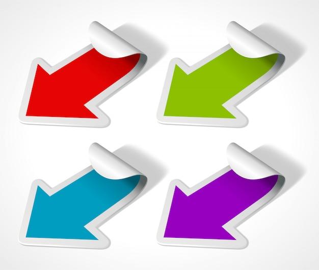 Setas coloridas com ilustração de bordas dobradas