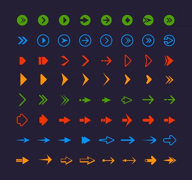 Setas coloridas da web. infográfico símbolos para setas de ícones do site app