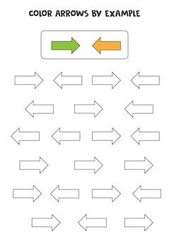 Setas coloridas de acordo com o exemplo. jogo de matemática para crianças.