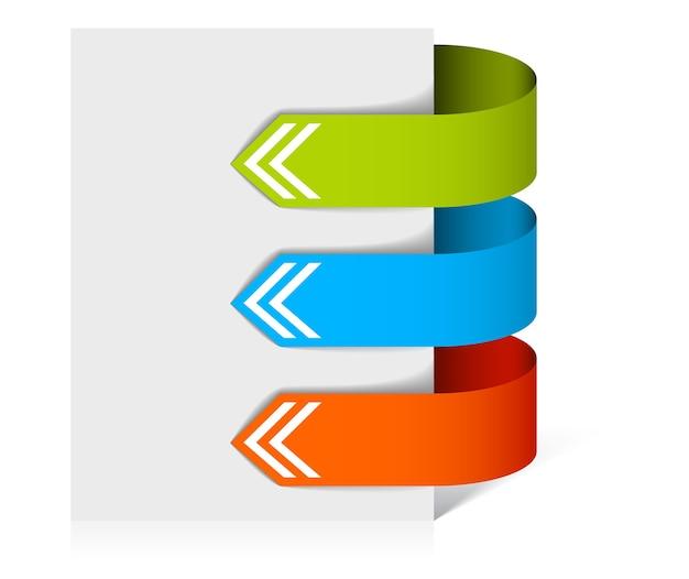 Setas coloridas em forma de adesivos de papel