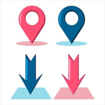 Setas coloridas. sinais de localização. ícones de geolocalização.