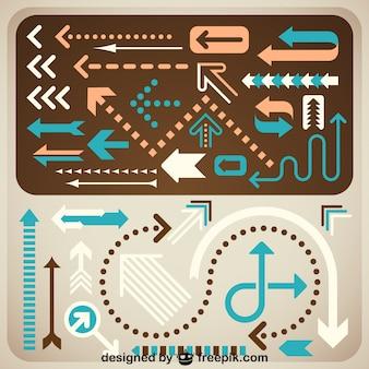 Setas criativas definir design retro