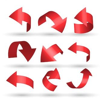 Setas curvas vermelhas definidas em estilo 3d