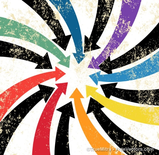 Setas de cor no estilo grunge