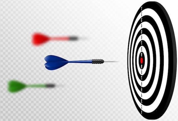 Setas de dardo azul de vetor voando para o alvo de dardos. metáfora para atingir o sucesso, conceito vencedor. isolado em fundo branco transparente.