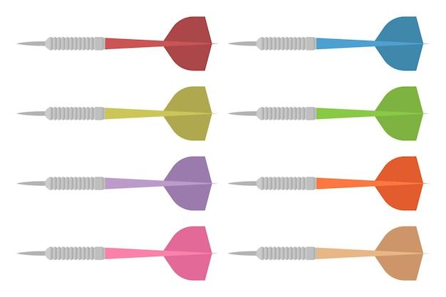 Setas de dardo em estilo simples, isoladas em branco