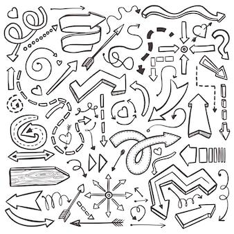 Setas de mão desenhada definidas em branco. ilustração abstrata com elementos de fundo de esboço