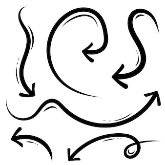 Setas de mão desenhada, doodle artesanal de esboço de grunge.