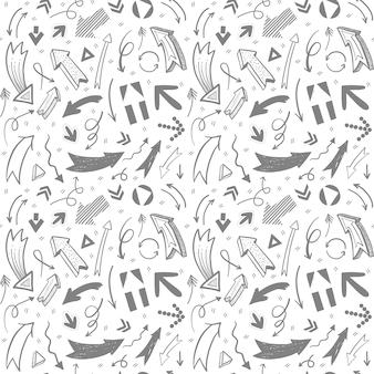 Setas de mão desenhada no padrão de estilos diferentes. fundo para notas, apresentações, ponteiros