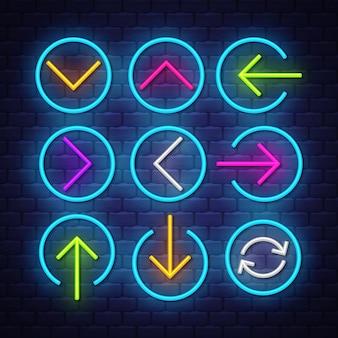 Setas de neon coleção