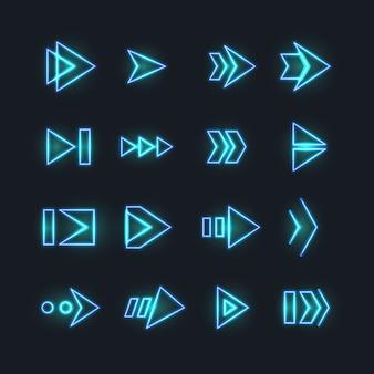 Setas de néon direcionais.