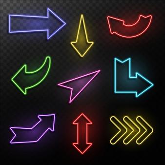 Setas de néon formas de setas de direção de luz elétrica