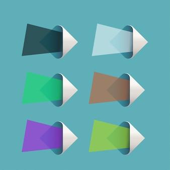 Setas de papel definido em azul