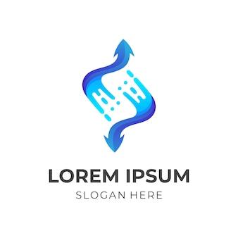 Setas de respingo, água e flecha, logotipo de combinação com estilo 3d azul