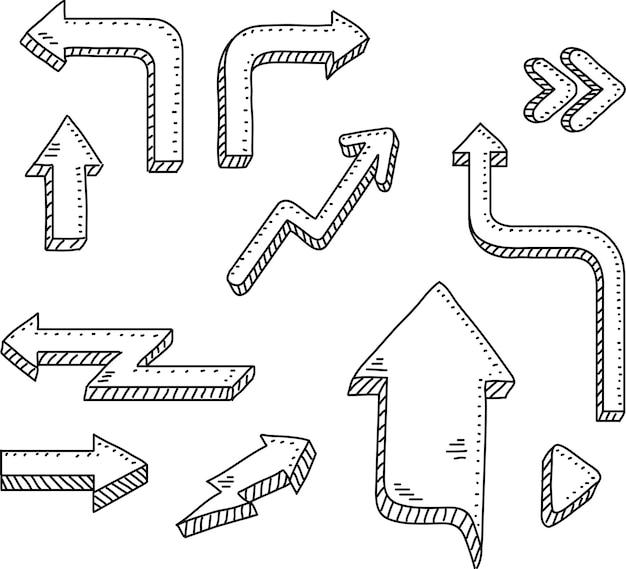 Setas de vetor de doodle e elementos de design conjunto de ícones desenhados à mão, molduras setas e setas
