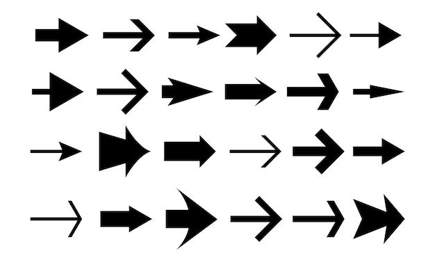 Setas de vetor. definir ícone de setas. ilustração vetorial