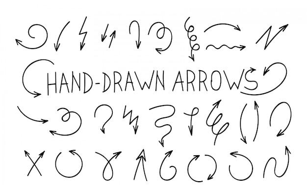 Setas de vetor doodle isoladas. conjunto de mão desenhada