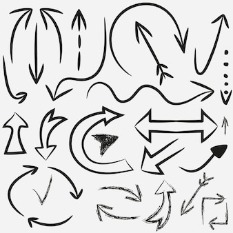 Setas desenhadas à mão. conjunto de vetores de ponteiros de guia. tinta, grunge.