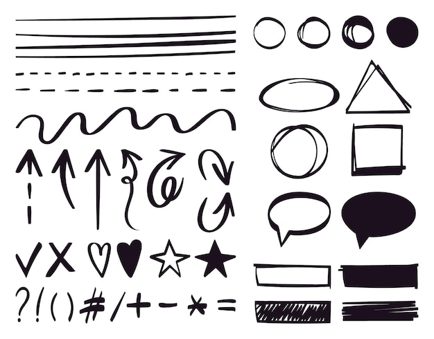 Setas desenhadas à mão e elementos de texto