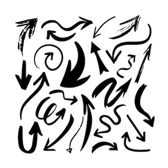 Setas desenhadas à mão isoladas em um fundo branco.