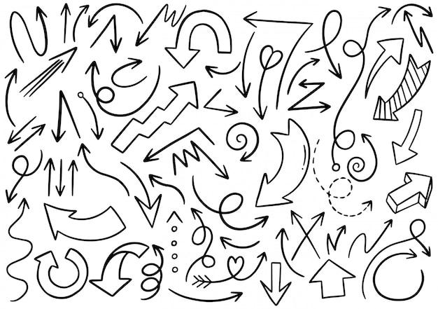 Setas desenhadas à mão