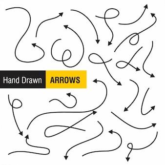 Setas desenhadas mão set
