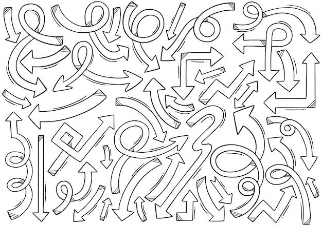 Setas desenhadas mão