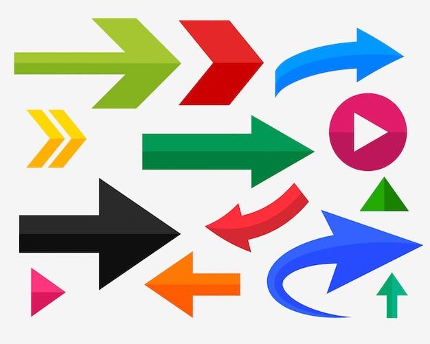Setas direcionais definidas em várias cores e formas