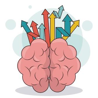 Setas do cérebro humano criatividade conceito de crescimento empresarial