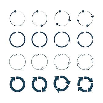 Setas do círculo. setas redondas à direita apontando para a coleção de ícones de símbolos
