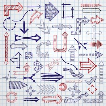 Setas esboçadas mão desenhada no conjunto de diferentes formas.