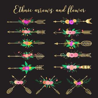 Setas étnicas e flor, penas e flores estilo boho.
