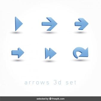 Setas ícones 3d ajustaram
