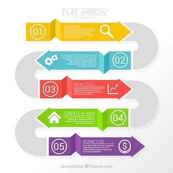 Setas infográfico planas em cores