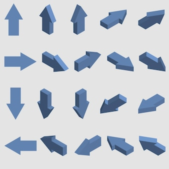 Setas isométricas. conjunto de ponteiros 3d. ilustração vetorial.