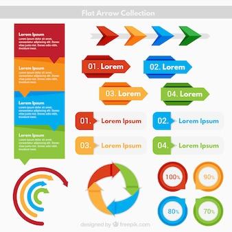 Setas lisas coloridas e por elementos infográfico