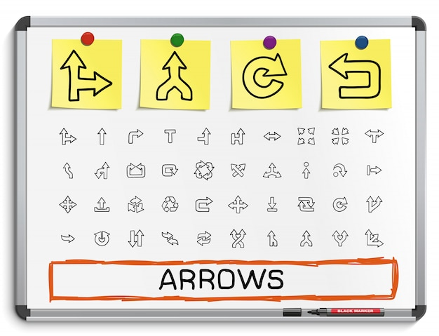 Setas mão desenhando ícones de linha. doodle conjunto de pictograma, desenho ilustração de sinal no quadro branco com adesivos de papel