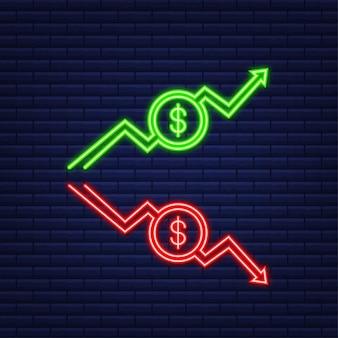 Setas para cima e para baixo com euro assinam no design do ícone plana sobre fundo branco. ícone de néon. ilustração vetorial.