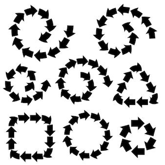 Setas pretas abstratas de vetor definidas para o modelo de design quadros de sinais de tráfego ou indicação