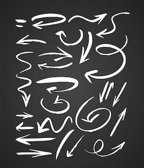 Setas texturizadas desenhadas à mão