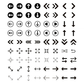 Setas vector coleção com estilo elegante e cor preta.