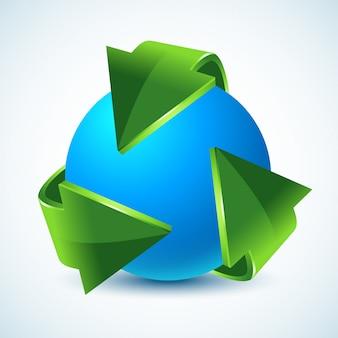 Setas verdes de reciclagem e terra azul.